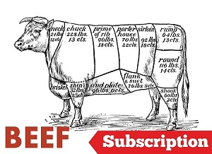ACTIVATE Grass Fed Beef Subscription - 16 lbs. Seasonal Beef Box $156/monthly or weekly (1 year commitment- expires every December 31st)
