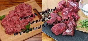 ACTIVATE GRASS FED GROUND & STEW BEEF BOX- Simply 6# of Grass Fed Ground Beef & 6# of Grass Fed Stew Meat only $111.00/month (1 year commitment- expires every December 31st)