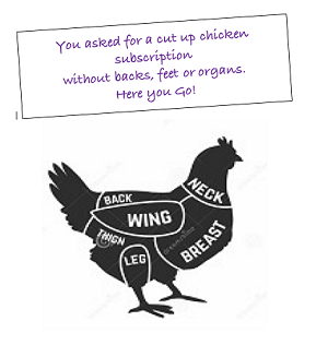 CUT UP CHICKEN BOX - NO BACKS OR BROTH KIT - PREMIUM BOX | $53.75 5lb. Box